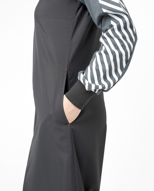 Side pockets grey abaya jilbab