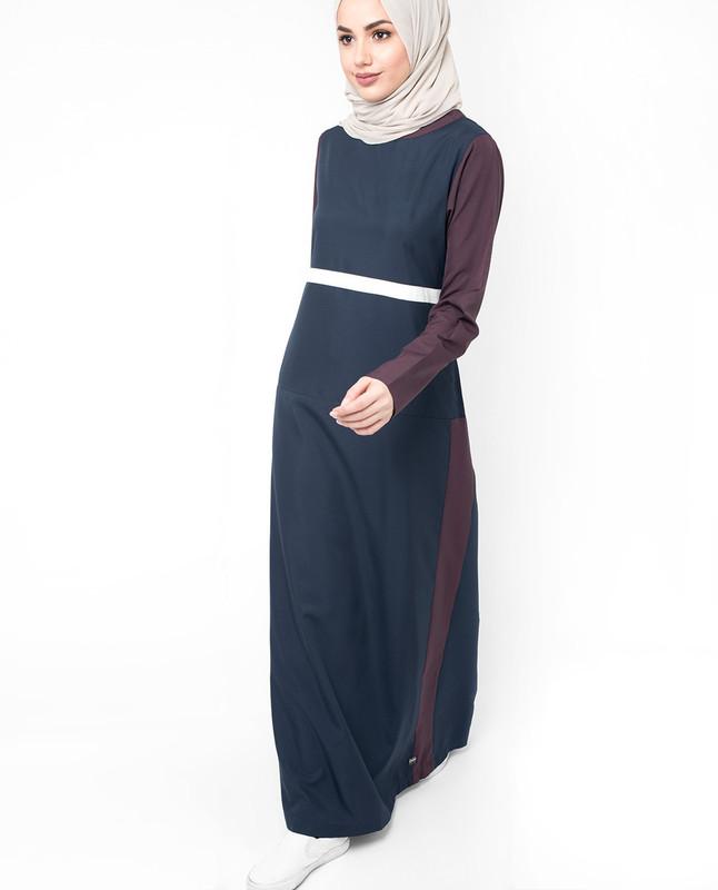 Dark blue summer abaya jilbab