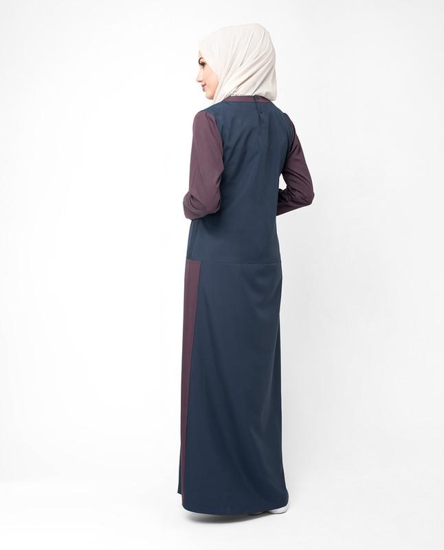 Dark blue color abaya jilbab