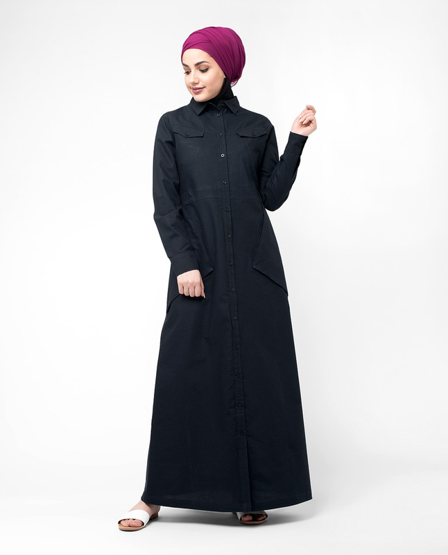 Full front button abaya jilbab