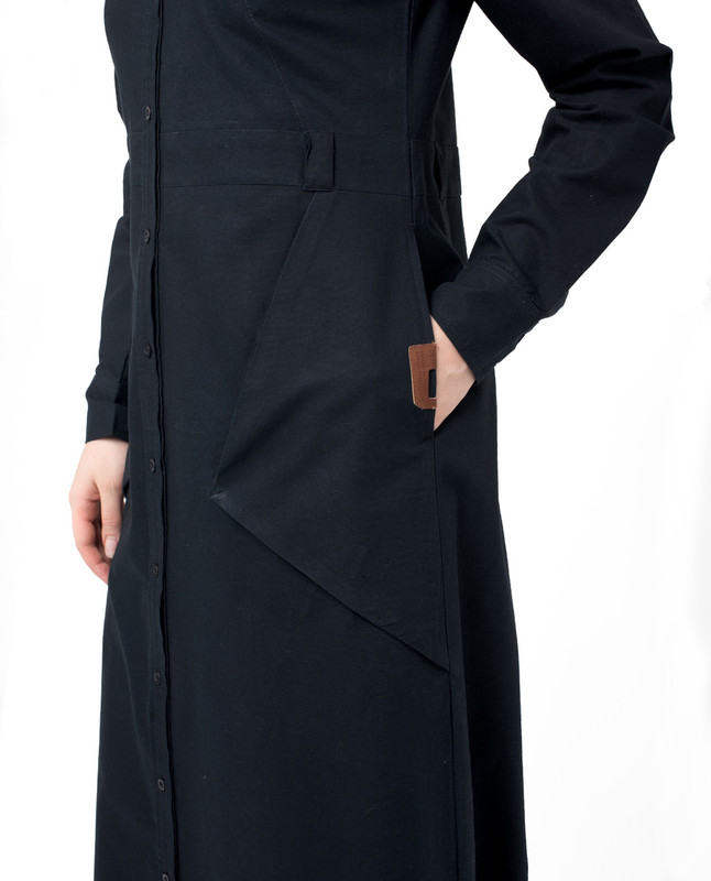 Side pockets navy blue abaya jilbab