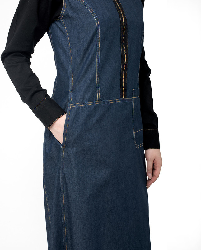 side pockets denim abaya jilbab