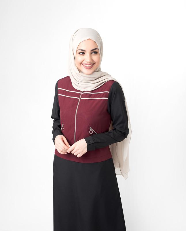 Buy red and black abaya jilbab