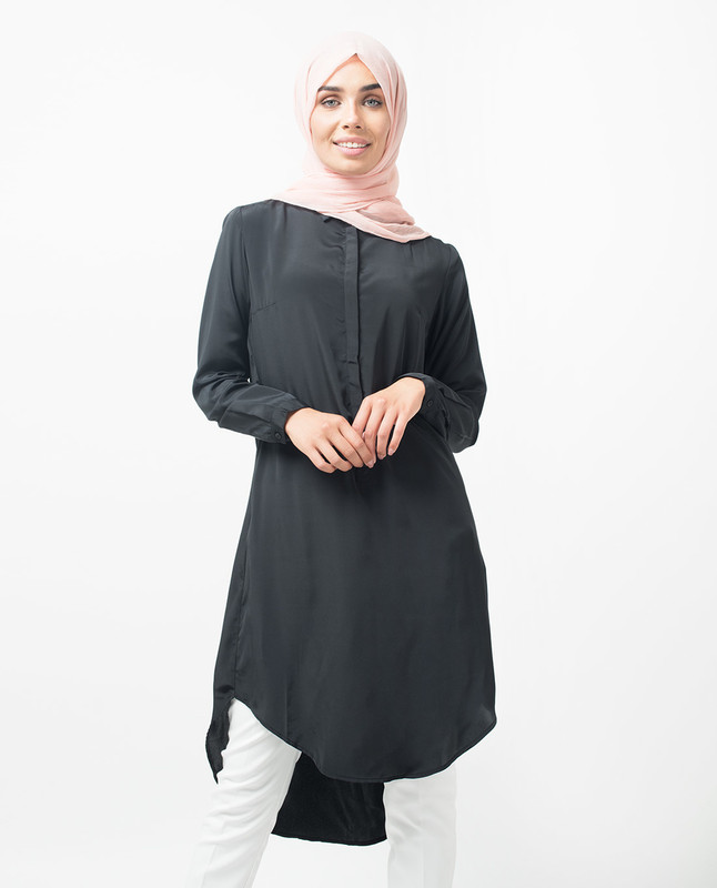 Black Dipped Hem Shirt Midi