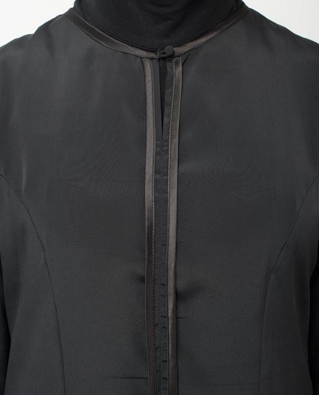 Black Satin Detail Abaya