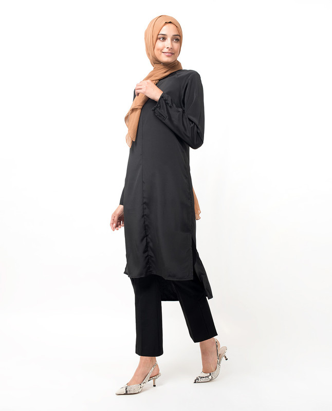 Lustrous High Low Black Midi Dress
