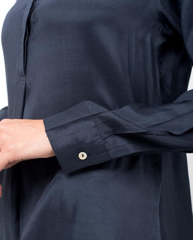 Navy Knife Pleat Midi Dress
