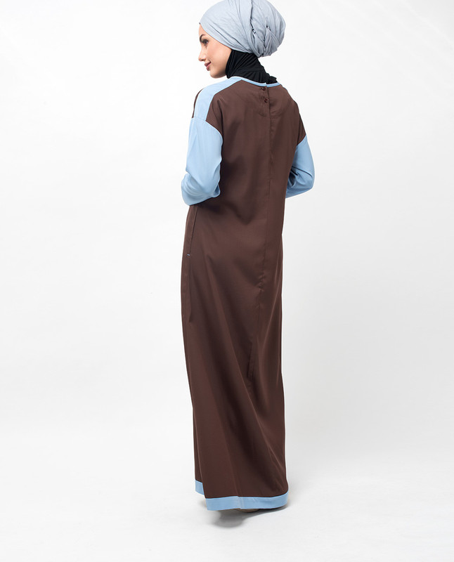 Brown & Blue Drop Shoulder Jilbab