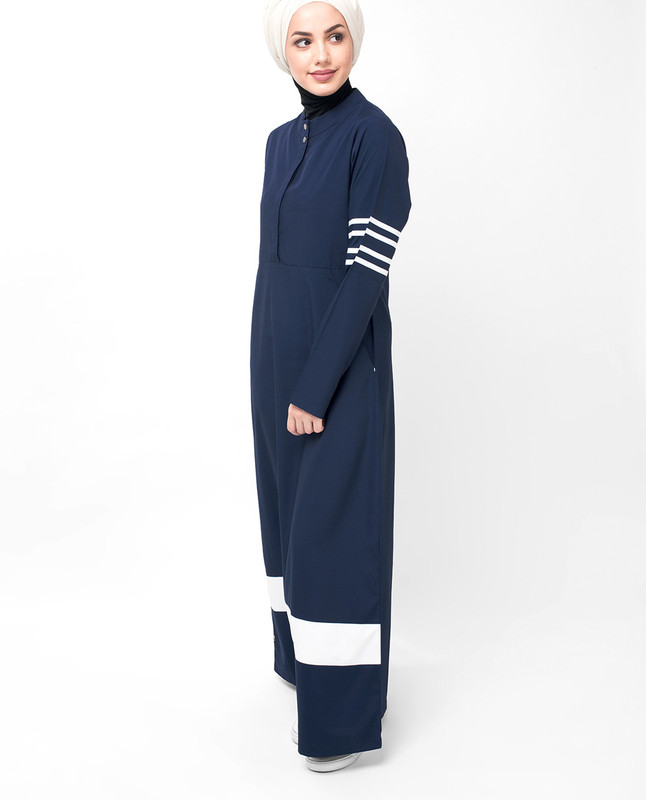 Navy Route Striper Abaya