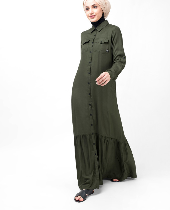 Olive Pleated Tier Abaya