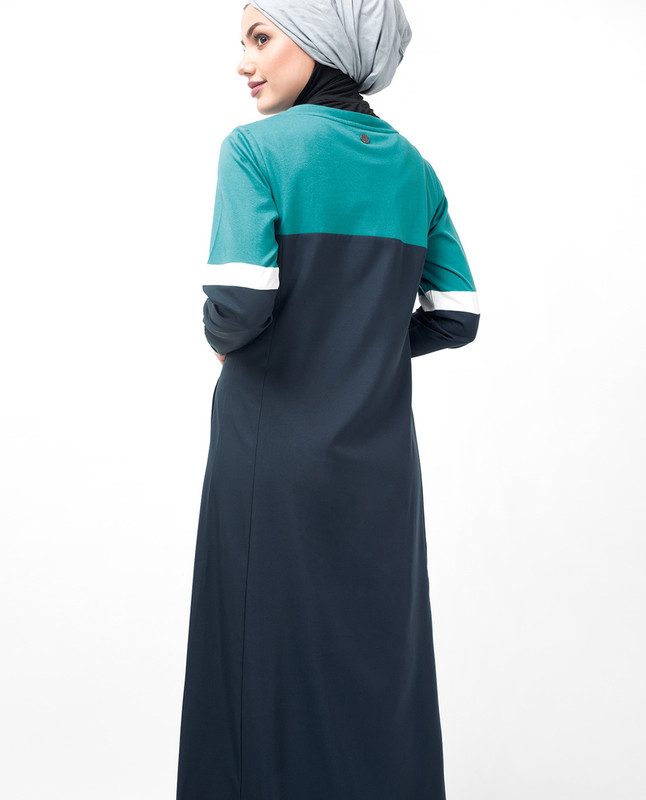 Navy Dropped Shoulder Abaya