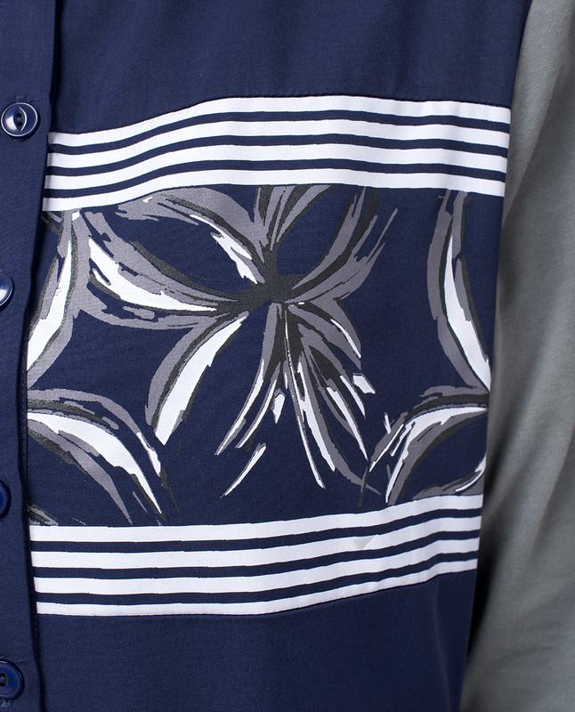 Navy Floral Print Abaya