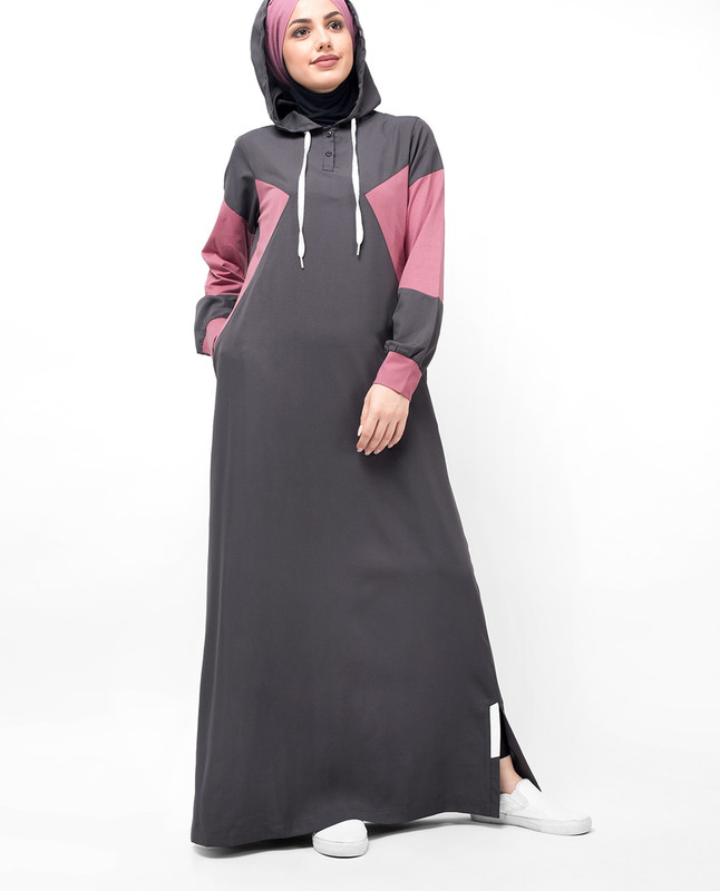 Grey & Pink Classic Route Hooded Abaya