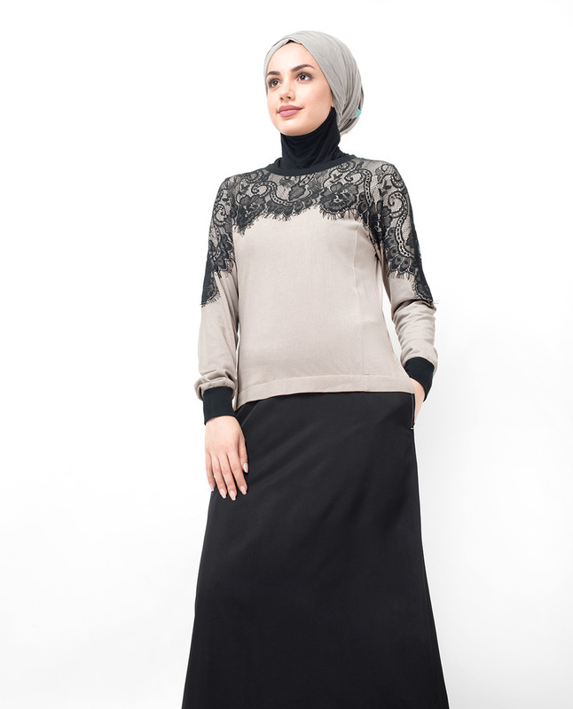 Black Laced Casual Abaya