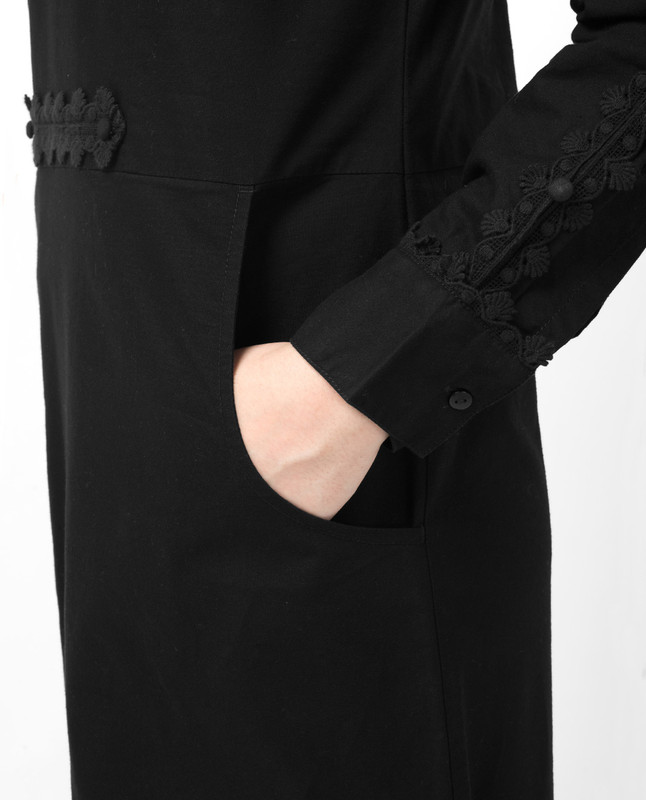 Black Lace Patched Abaya