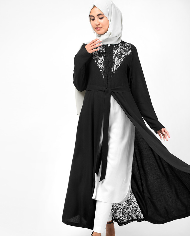 Elegant Full Front Open Black Lace Kimono