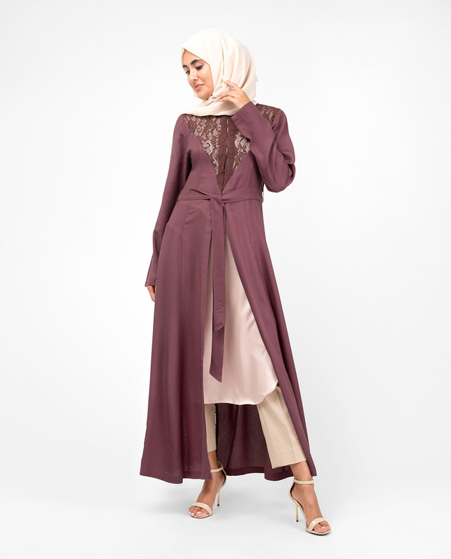 Elegant Full Front Open Rose Lace Kimono