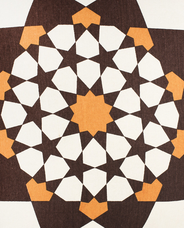 Islamic Geometry Print Cushion Cover - Brown / Orange