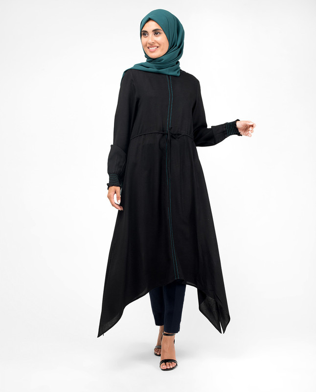 Black Handkerchief Midi Dress