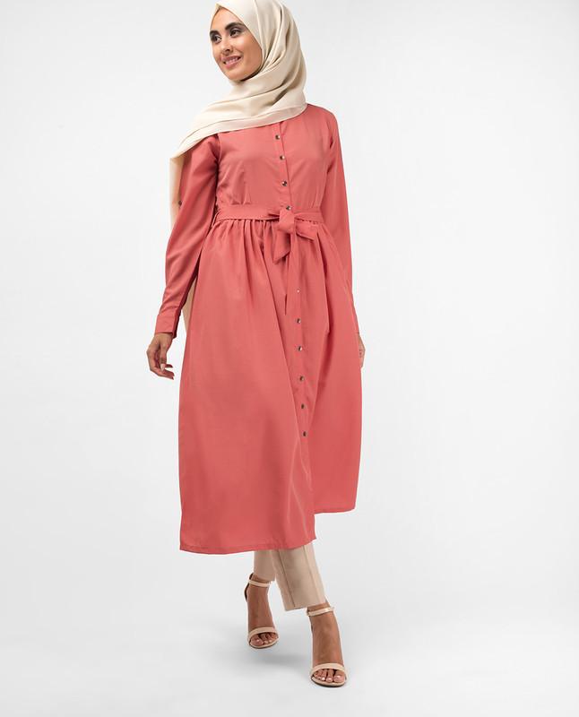 Dusty Rose Gathered Shirt Dress