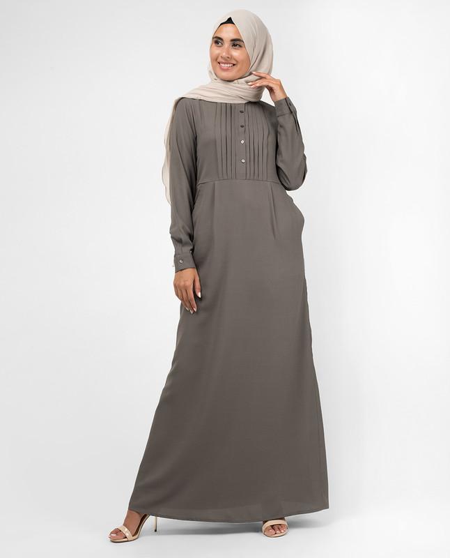 Grey Pintuck Abaya