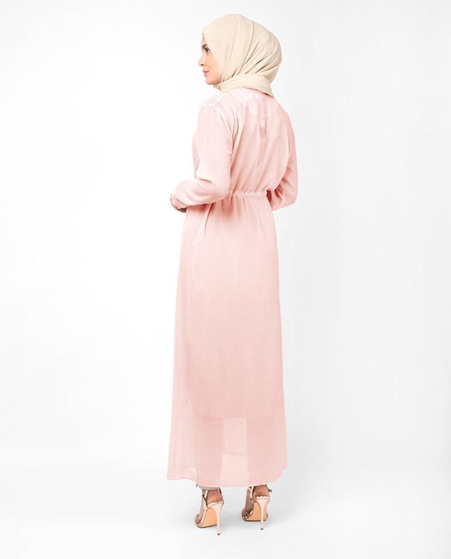 Baby Pink Waist Tie Up Outerwear