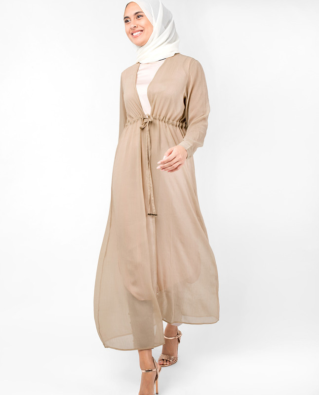 Beige Waist Tie Up Outerwear