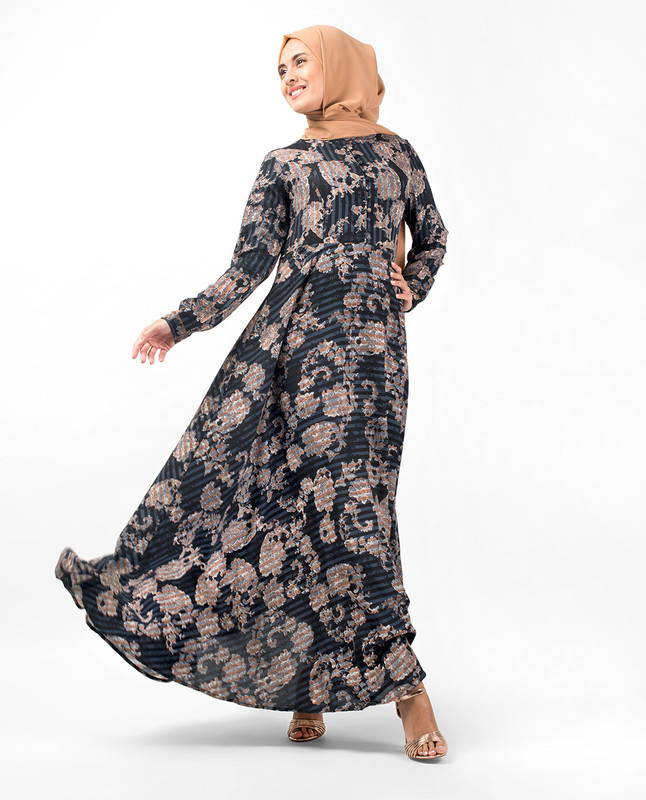 Floral Print Flared Fit Abaya
