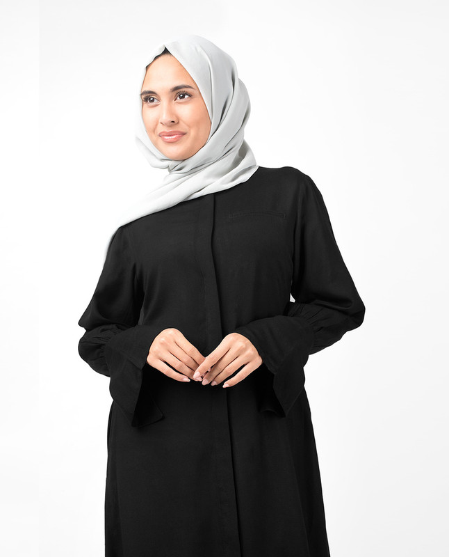 Full Front Open Black Bell Sleeve Abaya