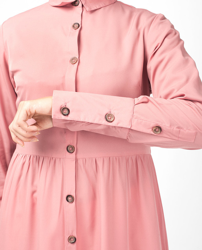 Pink Button Down High Low Shirt Dress