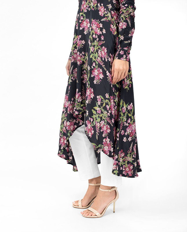 Oriental Floral High Low Midi Dress