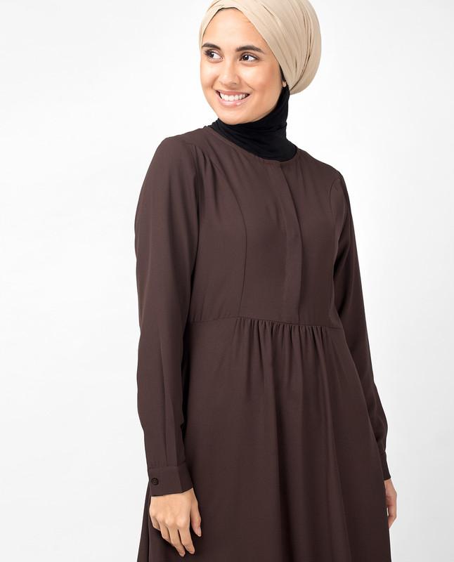 Brown Hook Slim Flared Abaya