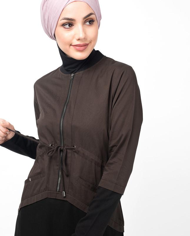 Dark Olive Curved Hem Jilbab