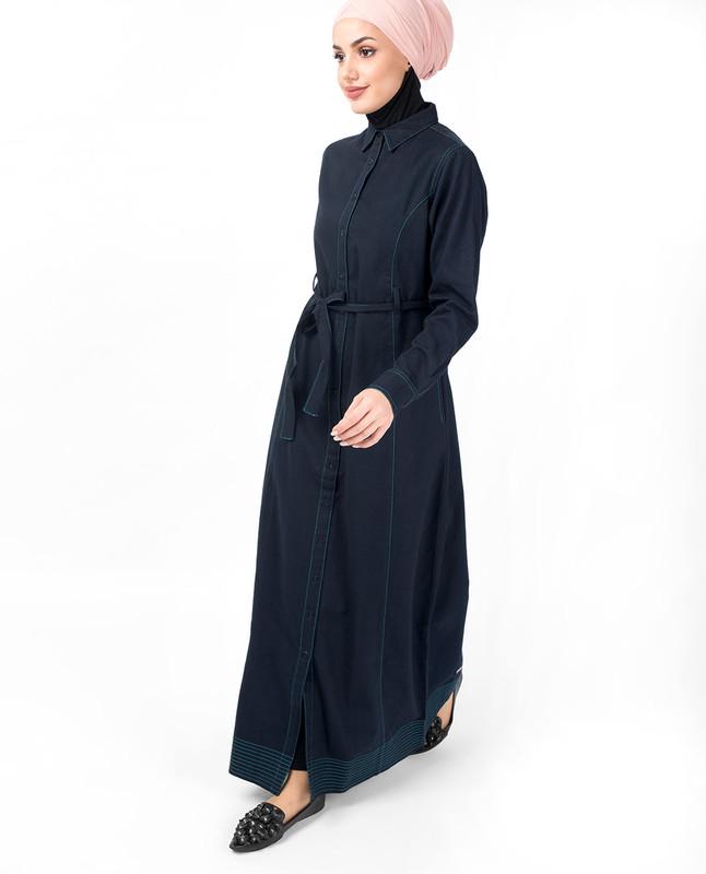 Full Front Open Navy Waist Tie Up Abaya