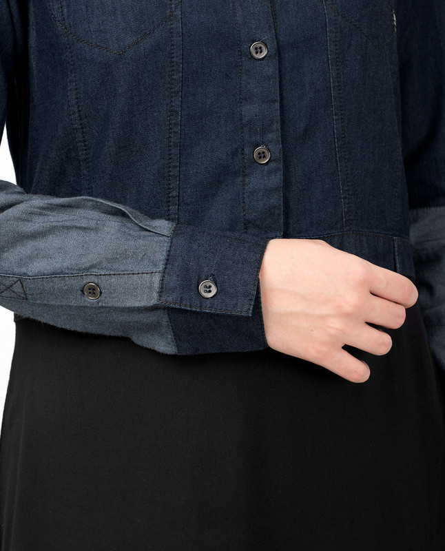 Mid Waist Skirt Denim Shirt Abaya