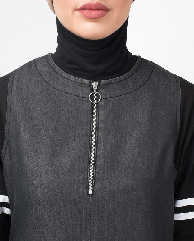 Dark Denim Contrast Sleeves Jilbab