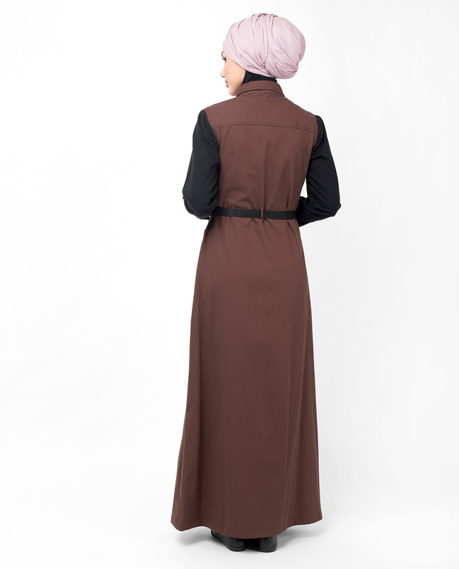 Brown Contrast Sleeve Jilbab