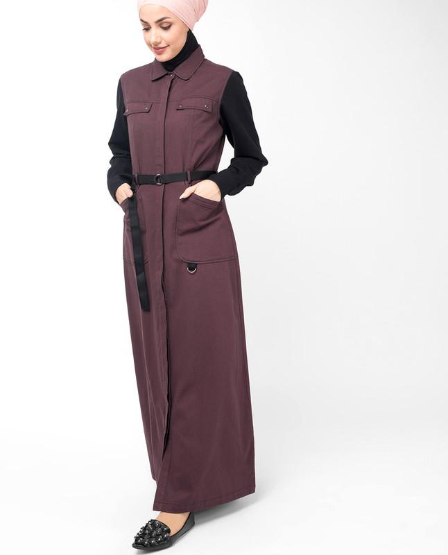 Plum Contrast Sleeve Winter Jilbab