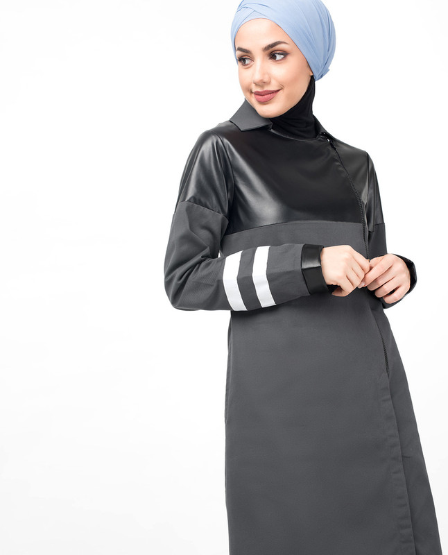 Grey Zipper & PU Winter Jilbab