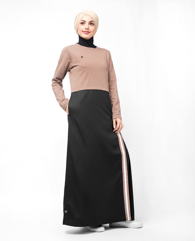 Black & Brown Contrast Stripe Jilbab