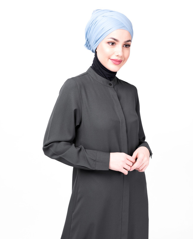 Steel Grey Full Front Open Abaya