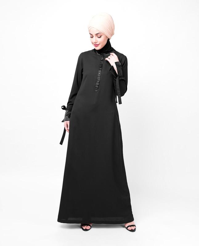 Black Satin Abaya