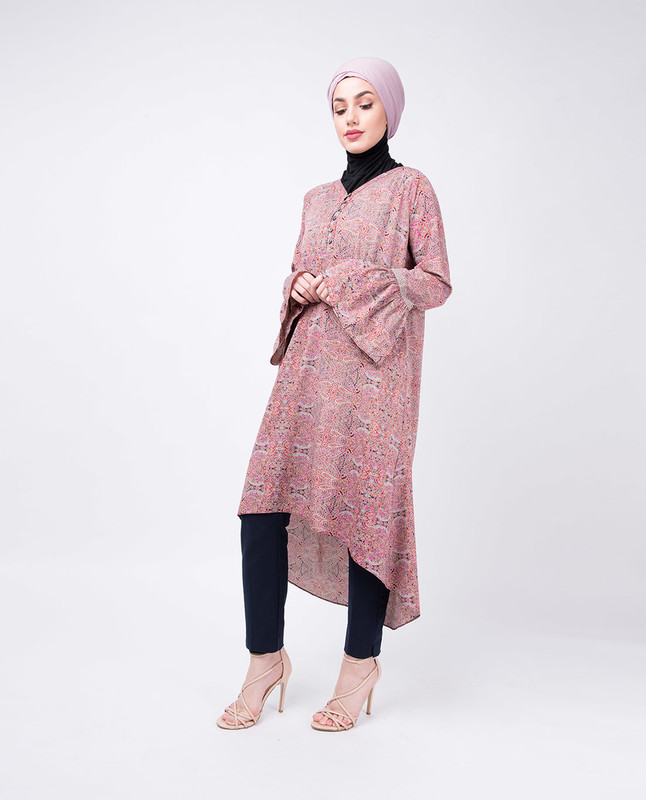 Flared Sleeve Paisley Print High Low Midi