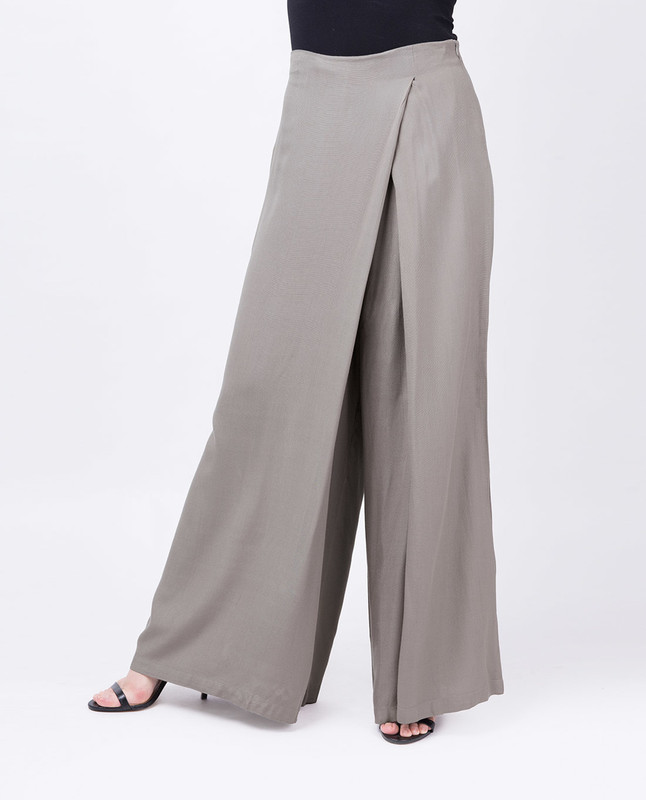 Overlap Wide Leg Steel Grey Trouser