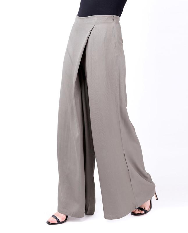 Overlap Wide Leg Steel Grey Trouser