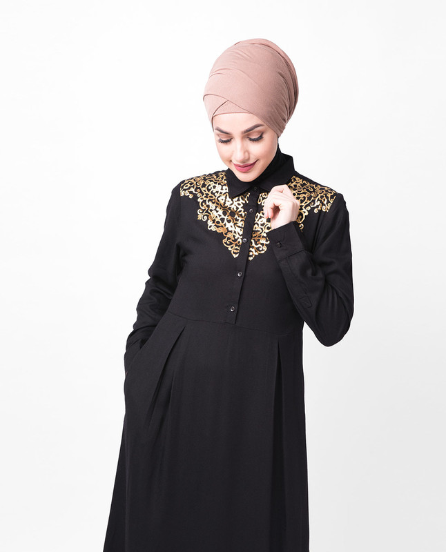 Gold Embellished Black Abaya