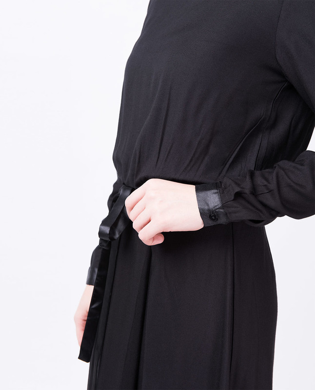 Black Satin Drawstring Long Top