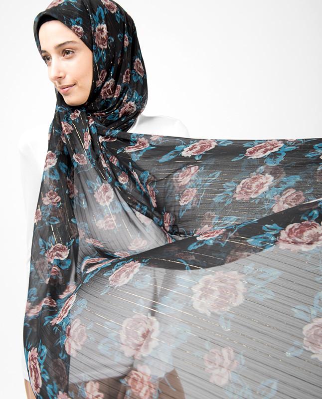 Black Lurex Floral Hijab