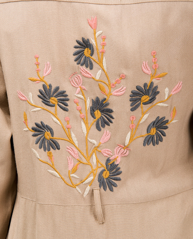 Sand Floral Embroidered Abaya