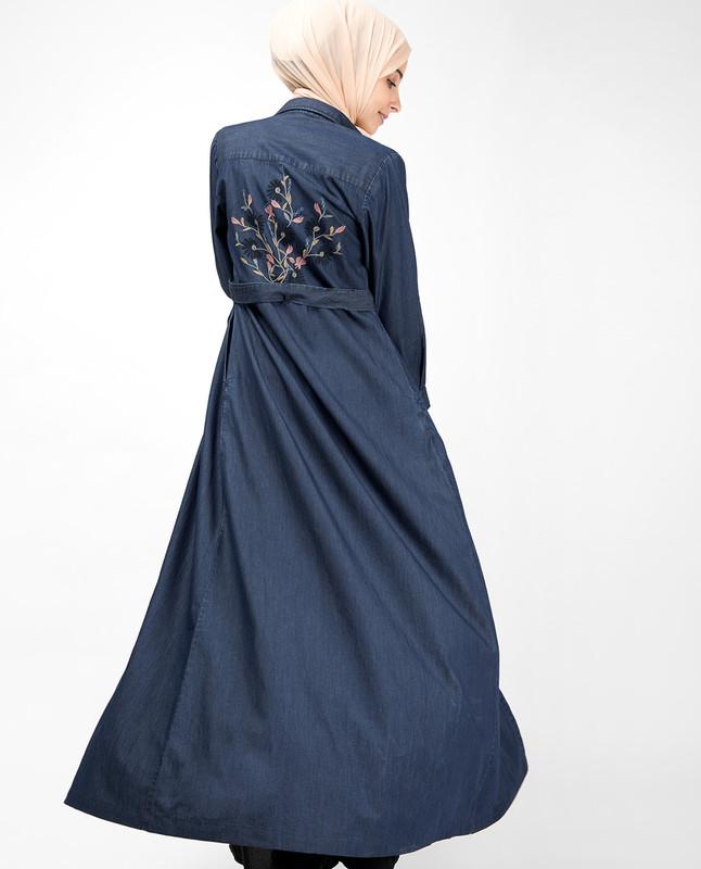 Fine Denim Floral Embroidered Abaya